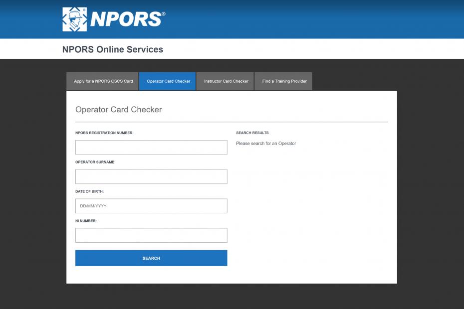 NPORS Operator Card Checker