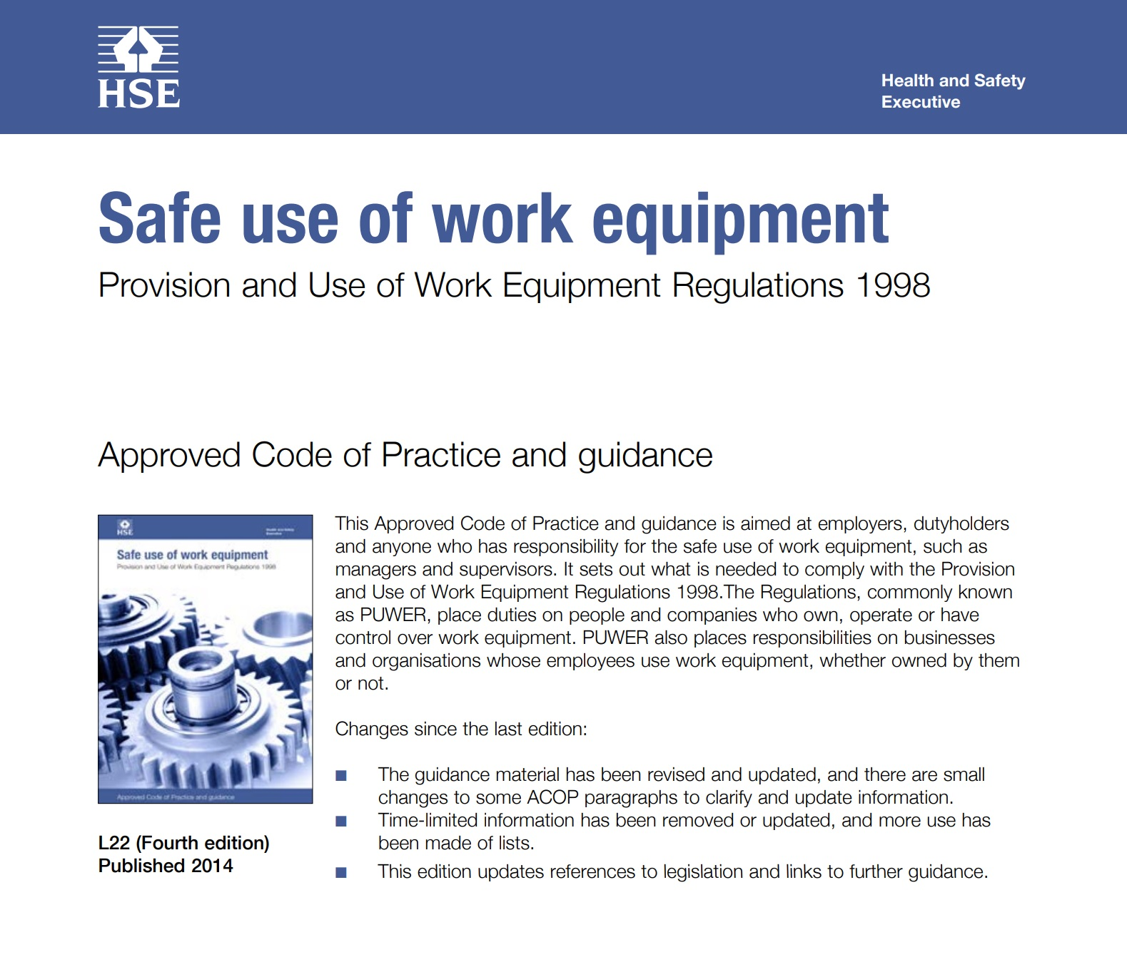 PUWER 1998 Thorough Examination and Inspection